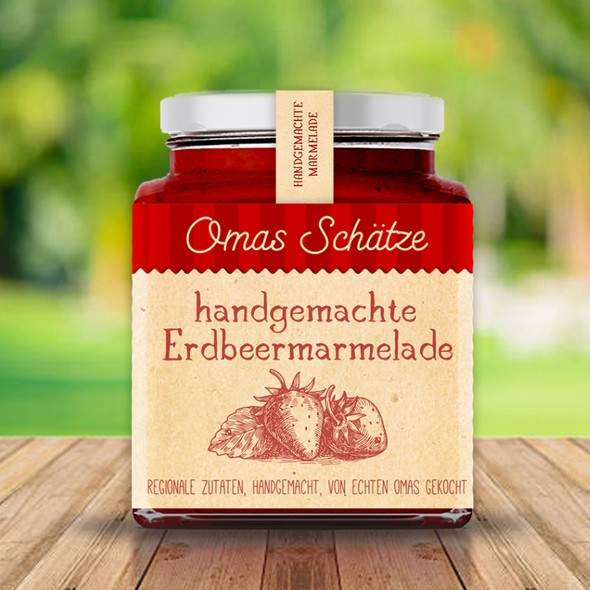 Strawberry label with the title 'Handcrafted strawberry jam'