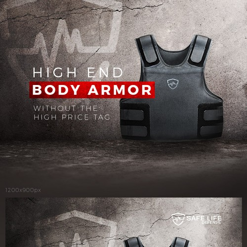 Armor design with the title 'Powerful banner for a body armor manufacturer.'