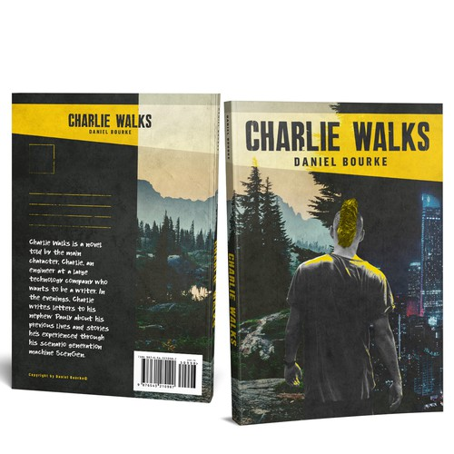 Grunge design with the title 'Book cover for Charlie Walks'