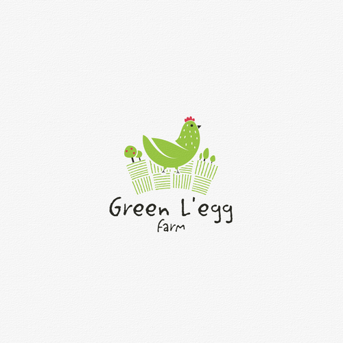 Egg logo with the title 'GREEN L'EGG FARM'