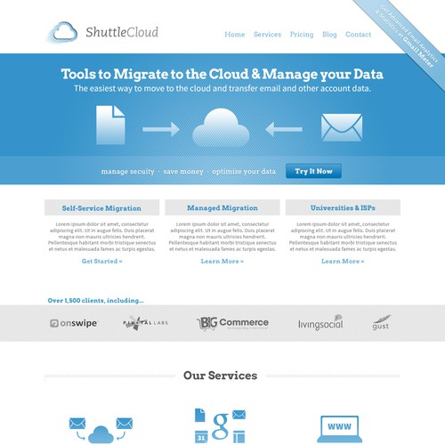 Gray and blue design with the title 'Cloud & Data Services Website'