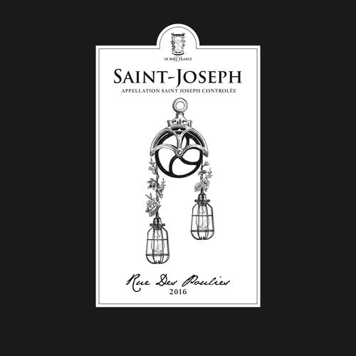Botanical label with the title 'Design Label for Saint Joseph'