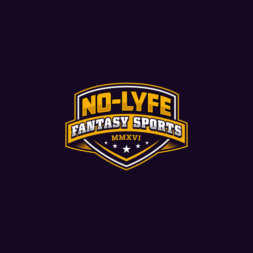 Yellow and orange design with the title 'Fantasy Sports Logo'