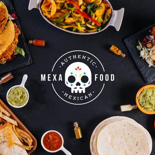 Burrito logo with the title 'Mexa Food'
