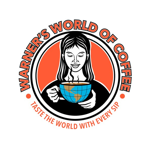 Globe design with the title 'Warner's World of Coffee'