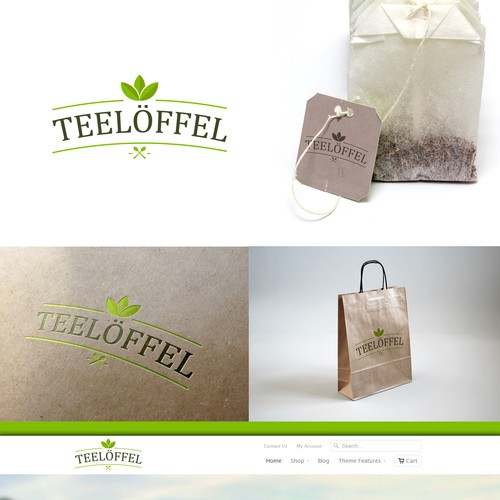 "Tea cup logo with the title 'Create a logo for our teashop called ""teelöffel / tee spoon""'"