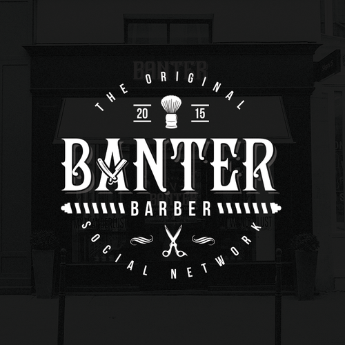 Retro design with the title 'Logo for BANTER - local barber lounge.'
