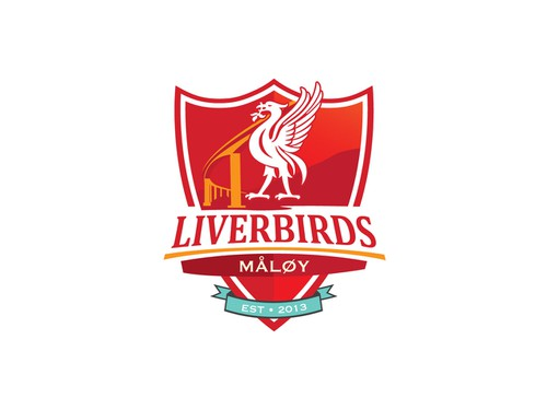 Crest design with the title 'New logo wanted for Liverbirds Måløy'
