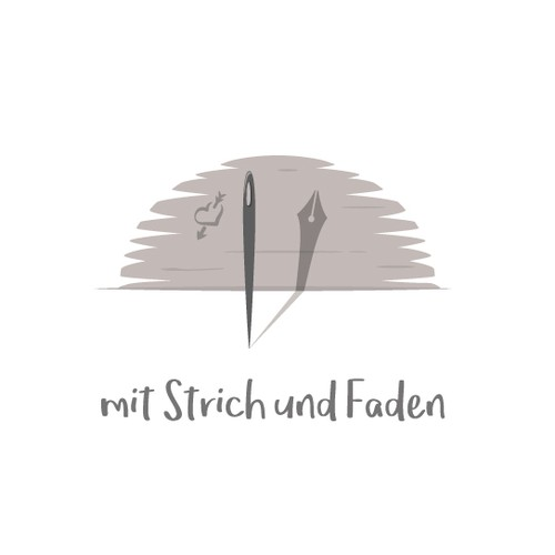Stitching logo with the title 'mit Strich und Faden (with Line and Thread)'