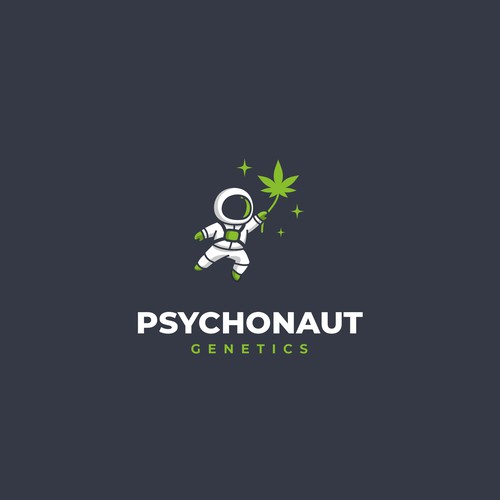 Cannabis leaf logo with the title 'Psychonaut Genetics'