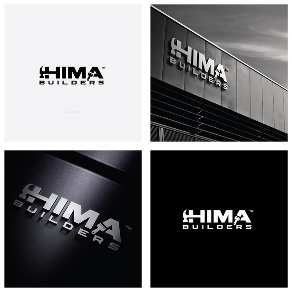 Builder design with the title 'HIMA Builders Logo, In Hammer, House, Paint Brush, Design'