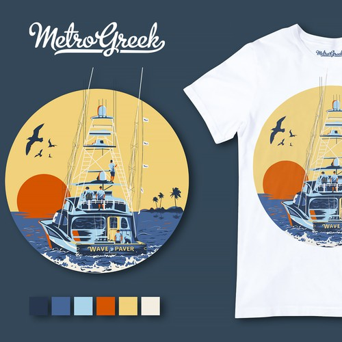 Ship illustration with the title 'T-Shirt Design'