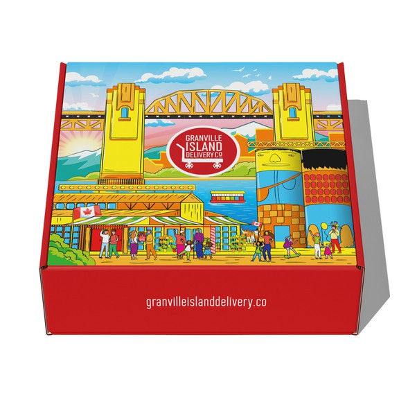 Gift box design with the title 'Gift box design for Granville Island Delivery Co.'