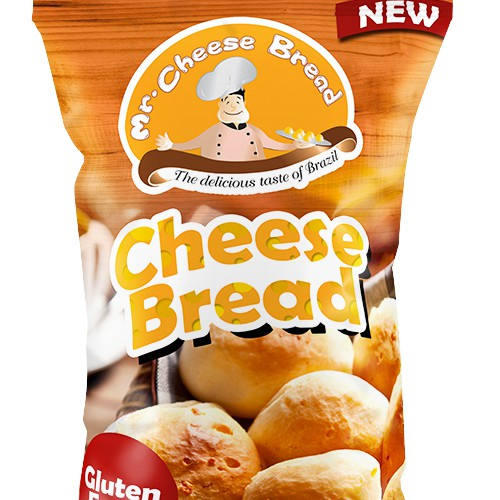 Bread packaging with the title 'Create eye-catching design for Mr.Cheese bread- a Brazilian company!'
