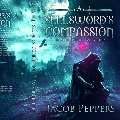 Fantasy design with the title 'A Sellsword's Compassion'