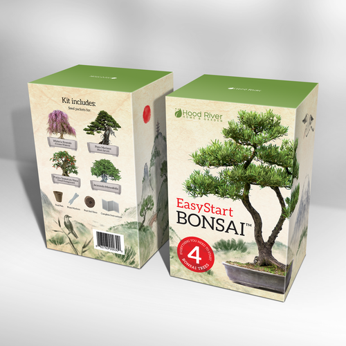 Oriental design with the title 'Bonsai kit box design. Packaging design with custom hand drawn illustration.'
