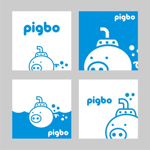 One-color logo with the title 'Simple and Fun logo for Pigbo'