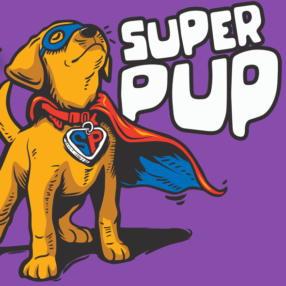 Superhero t-shirt with the title 'SUPERPUP'