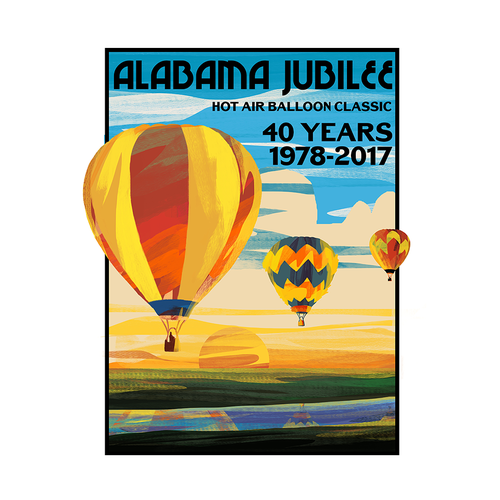 Hot air balloon design with the title 'Vintage Hot Air Balloon Shirt Design'
