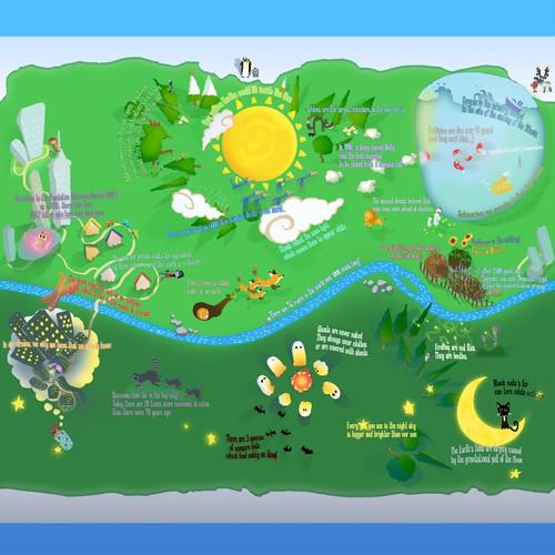 Earth artwork with the title 'Super Artful Globe ~ illustration'