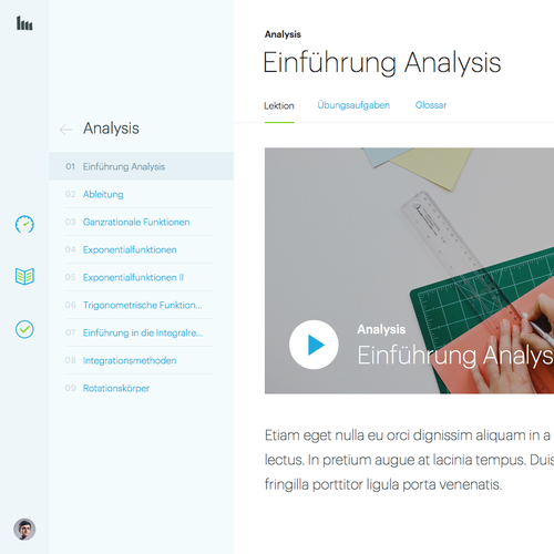 E-learning design with the title 'E-learning web app'