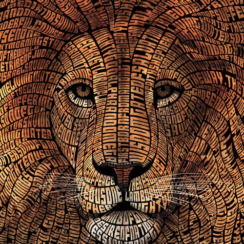 Typography artwork with the title 'Typography Lion Illustration'