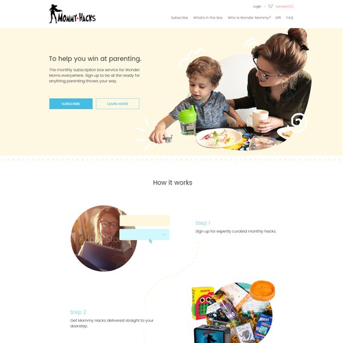 Feminine website with the title 'Design for a subscription box service'