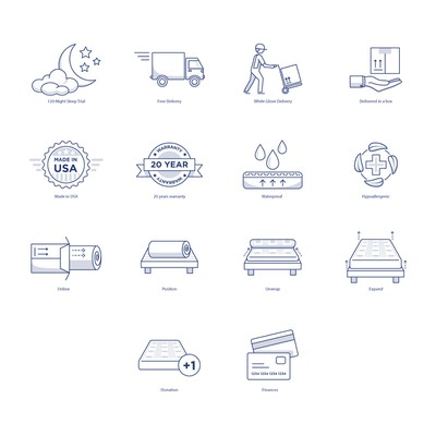 Icons for Mattress ecommerce store