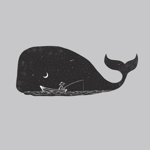 Whale design with the title 'Night Fishing'