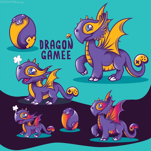 Artwork with the title 'dragon mascots'
