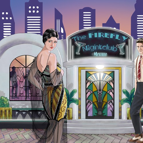 Style illustration with the title '1920s style mystery game'