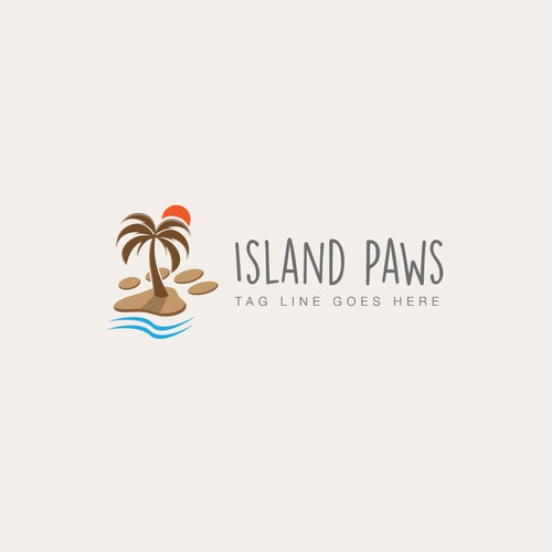 Paw logo with the title 'Island Paws'
