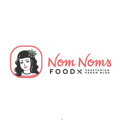 Vegetarian logo with the title 'Woman face illustration Vegan food blog'