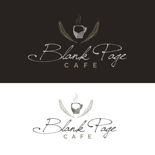 Eagle feather logo with the title 'Logo design for Blank Page Cafe '