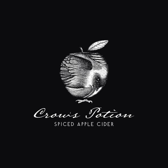 Raven design with the title 'Playful Logo Concept for Apple Cider'