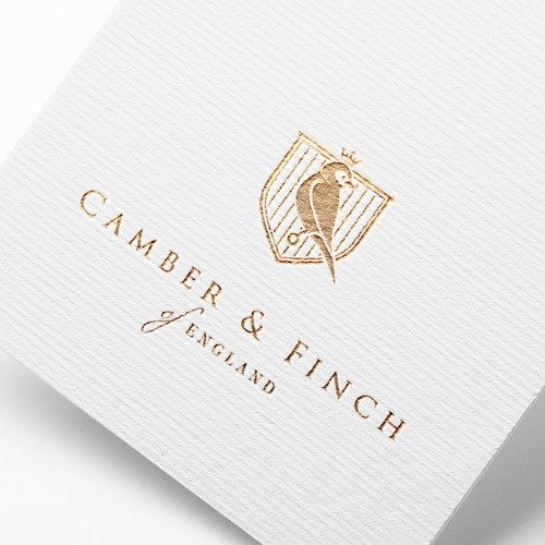 Crest logo with the title 'Project for Camber&Finch (luxury) aviation-inspired brand'