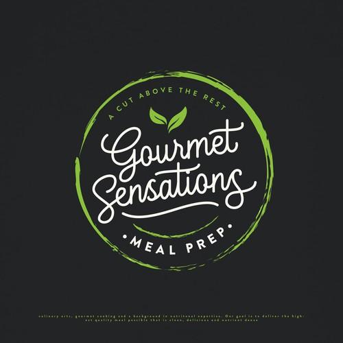 Cursive design with the title 'GOURMET SENSATIONS LOGO DESIGN'