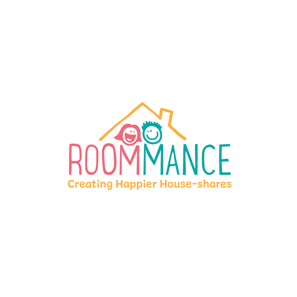 Romantic logo with the title 'Roommance, a unique online platform to find a roommate '