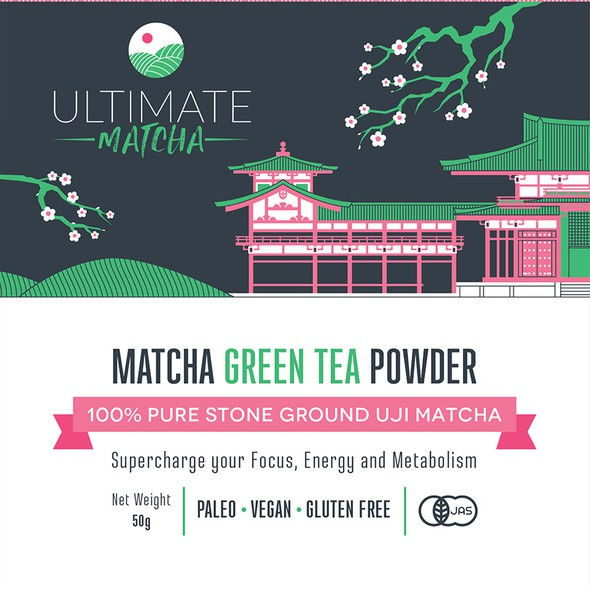 Sakura design with the title 'Matcha tea pouch packaging for Ultimate Matcha'