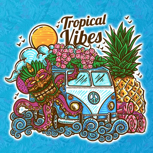 Pineapple design with the title 'Tropical Vibes'