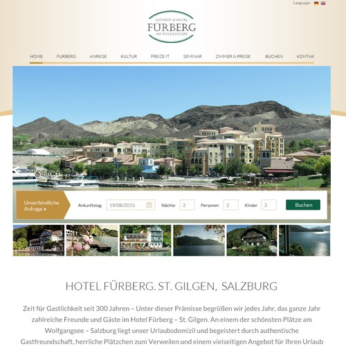 Tourism website with the title 'Furberg Website Design'