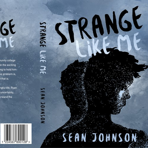 Painting design with the title 'Strange like me - Contemporary fiction'