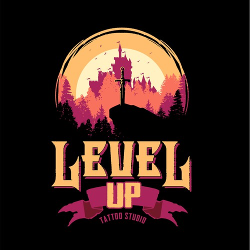 Silhouette logo with the title 'Level Up Tattoo Studio'