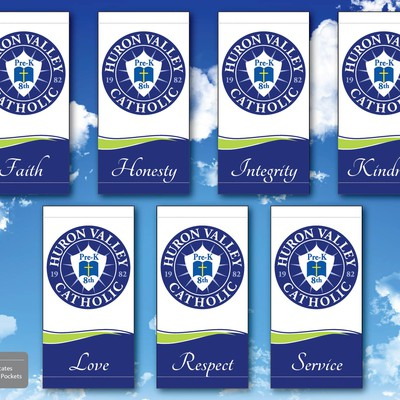 Light pole banner design for Catholic school.