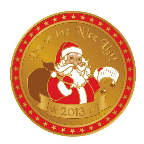 Medal design with the title 'New merchandise design wanted for Santa Certificate'