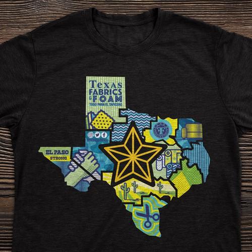Texas design with the title 'Texas Fabrics & Foam'