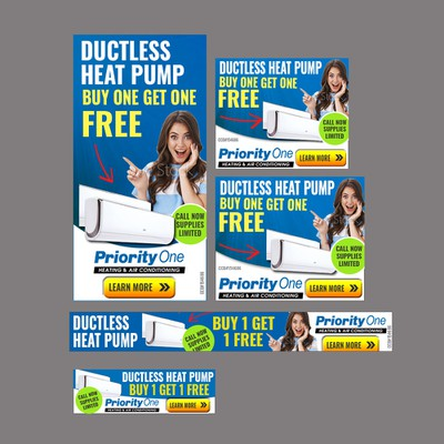 Banner ad for Priority One heating and air conditioning company USA