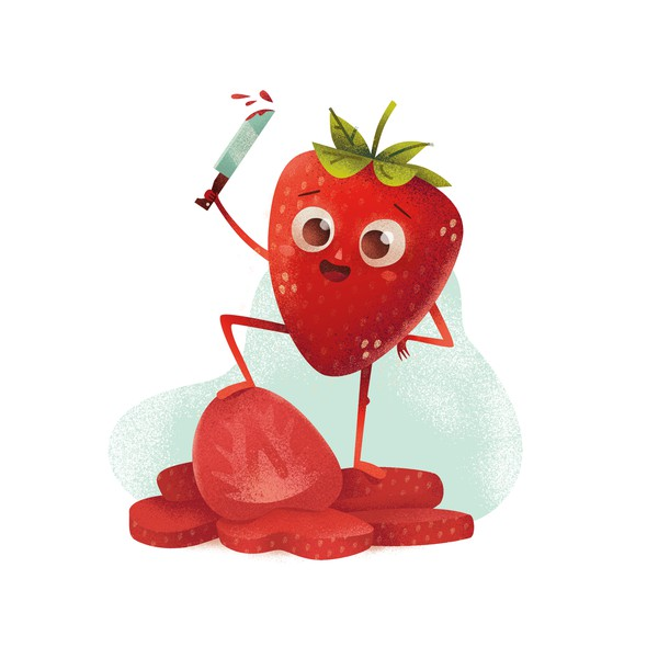 Fruit artwork with the title 'Illustration for a label of freeze-dried strawberries'