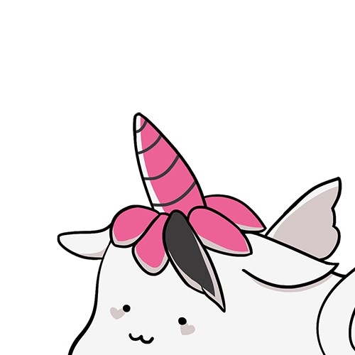 Girly artwork with the title 'Chubby Flying Unicorn Mascot Design'