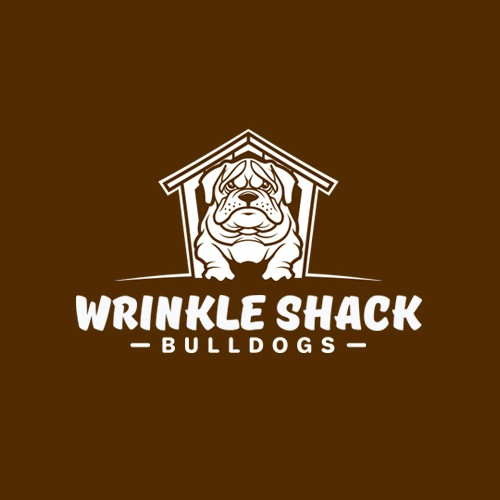 Bulldog mascot logo with the title 'Wrinkle Shack logo design'